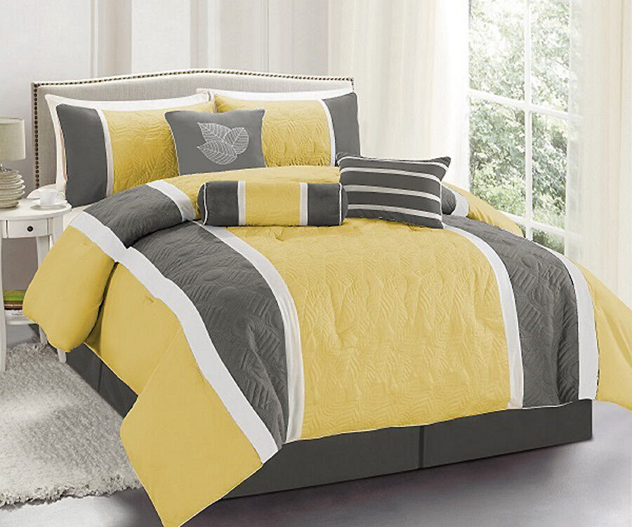 7 Pc. Yellow and Grey Embroidered Comforter Set- Queen- Brand New-