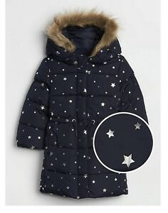 BABY-GAP-Baby-Girls-12-18-24-Mo-2T-Long-Warmest-Jacket-BLUE-METALLIC-STARS-Coat