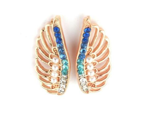 """Cristal oreja dobladillo pendientes alas escaladores 1/"""" Mujeres par Pins Elegir Colores"""
