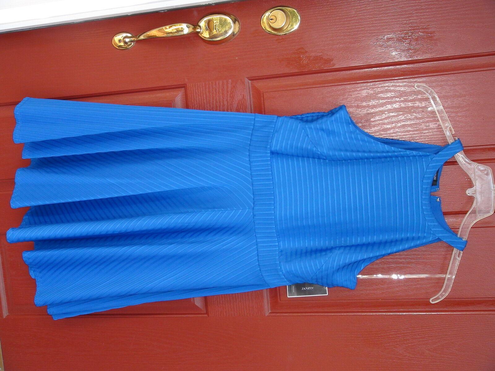 Alfani Ladies Evening Dress size 14 Cobalt Sea Solid Below Knee Sleeveless