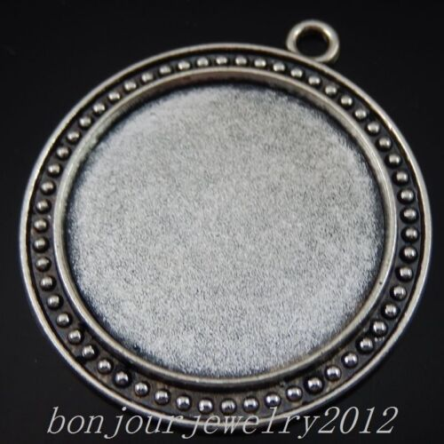 50238 Vintage Silver Alloy Round Cameo Base Setting Charms Pendants Crafts 10x