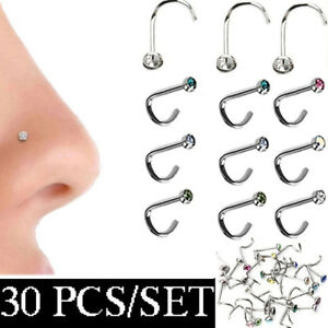 Body-Jewelry-Thin-Gem-Nostril-Hoop-Crystal-Screw-Stud-Nose-Piercing-Nose-Ring