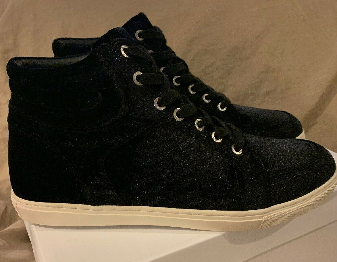 J slides NYC NYC NYC Black Velvet Clique Sneakers High Hi Top Tops Womens 9.5 M Fashion 02f943