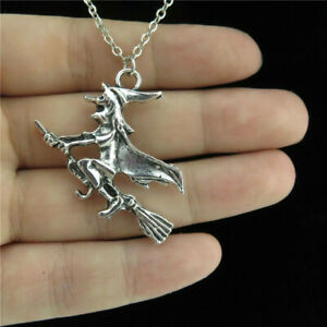Sterling Silver Witch on a Broom Charm  Necklace