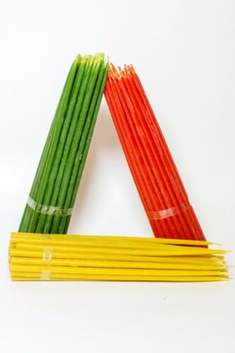 50 red 50 green Beeswax Church Candles 50 yellow