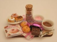 Dolls house food - Decorating donuts prep board  -By Fran