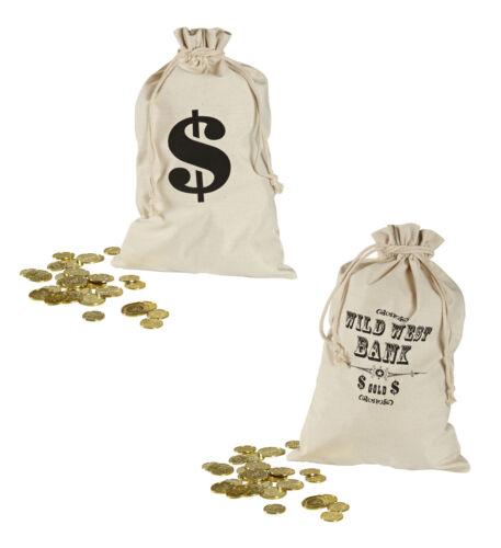 MONEY BAG WESTERN COWBOY LOOT BAG FANCY DRESS ACCESSORY