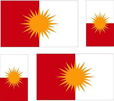 Set of 4x sticker vinyl car bumper decal flag yezidi Yazidi Kurdisan KURDISH