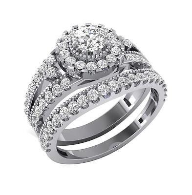 Engagement Bridal Ring I1 H 1.10 Ct Round Diamond 14Kt White Gold Prong Pave Set