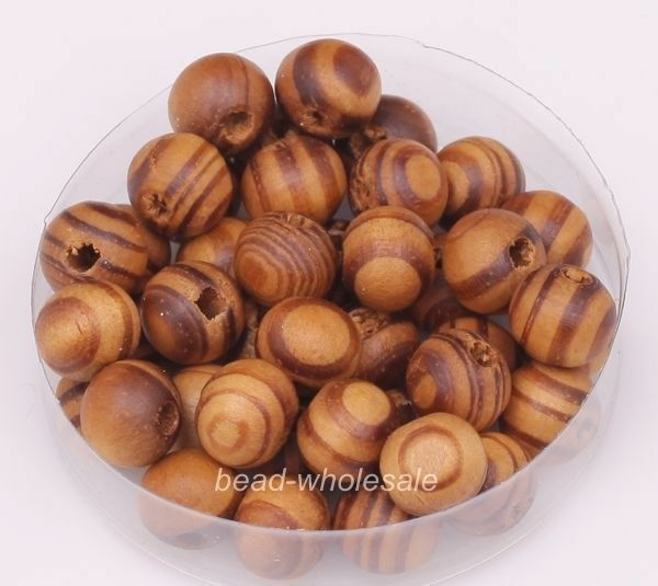 Wholesale 200pcs Brown/Red Color Round Wooden Loose Spacer Beads 8mm