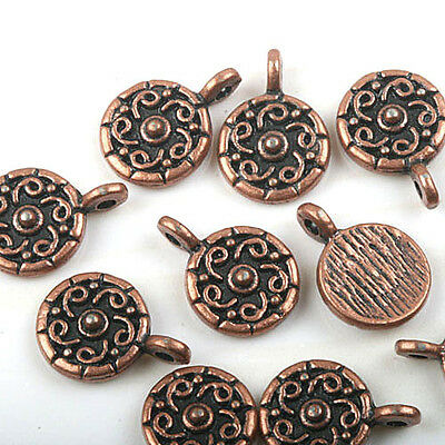 40pcs copper tone crafted flower charms H1939