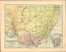 1902 MAP ~ NEW SOUTH WALES VICTORIA SOUTH AUSTRALIA ~ TASMANIA