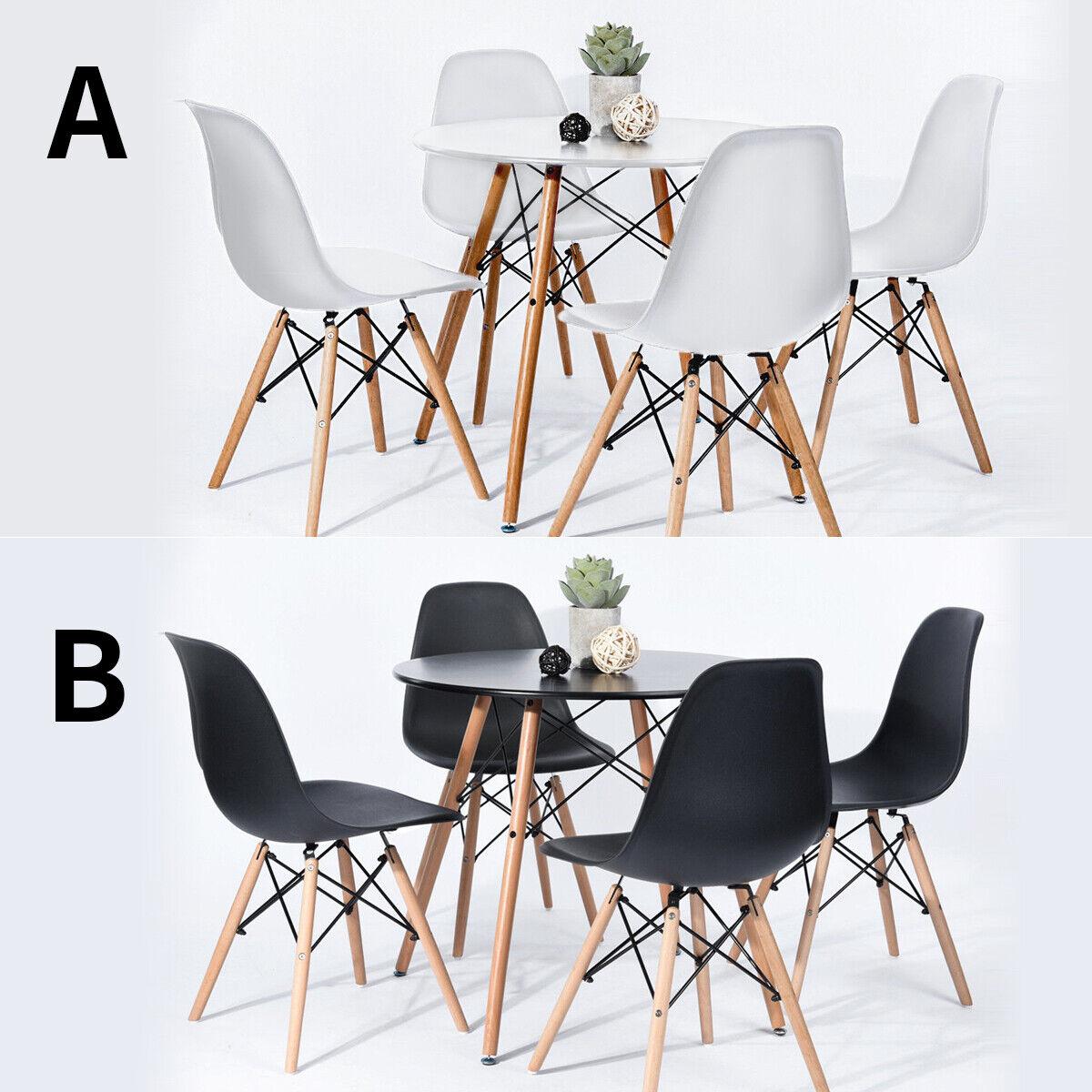 IPOTIUS Esstisch Runde für 4 Personen Esstisch + 4 schwarz Stühle Küchentisch