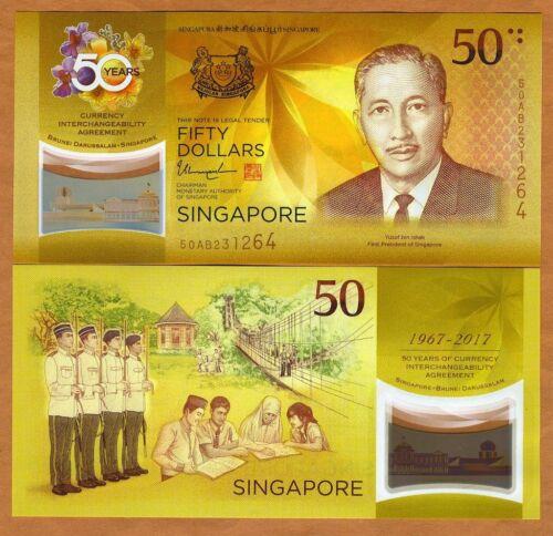 Polymer 50 Dollars UNC />  Commemorative Singapore P-New 2017