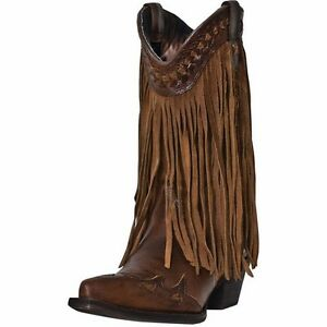 DINGO LADIES BROWN HEART THROB FRINGE COWBOY WESTERN BOOTS! DI7445 ...