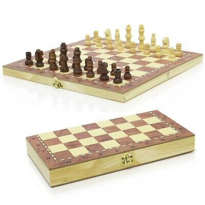 3 in 1 Hand Crafted Folding Wooden Chess /& Draughts Set 24cm x 24cm Travel Board