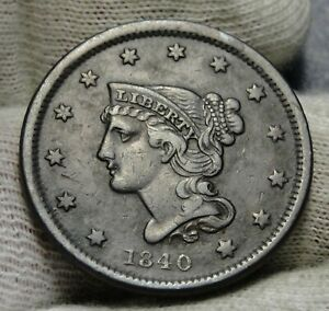 1840-Large-Cent-Penny-Braided-Hair-Penny-Nice-Coin-Free-Shipping-8041