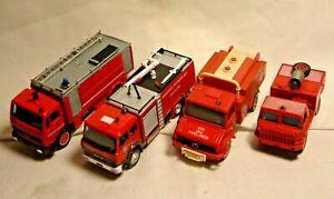 SOLIDO & 1 DELPRADO. FRENCH Fire Engines. 2 Mercedes, Iveco & BERLIET. pas de boîtes.