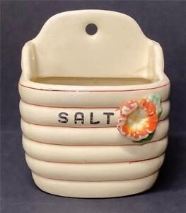 Antique/Vintage Ceramic Salt cellar Box Ringed Beehive Flowers Yellow Orange
