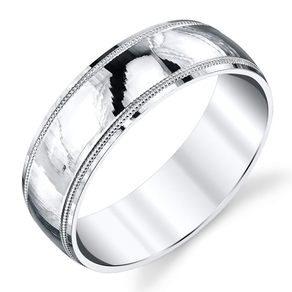 Milgrain Wedding Ring In Platinum 7mm: 925 Sterling Silver Mens Wedding Band Ring Milgrain