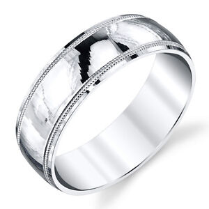925-Sterling-Silver-Mens-Wedding-Band-Ring-Milgrain-Comfort-Fit-Classic-Plain
