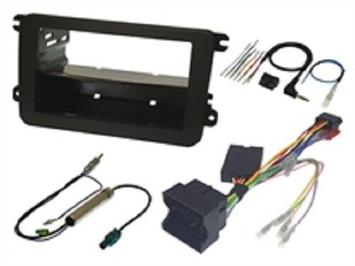 VW TRANSPORTER T5 2009 > BLACK SINGLE OR DOUBLE DIN BLACK FASCIA SWC FITTING KIT