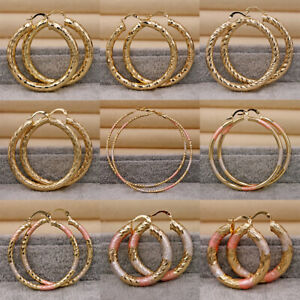 Bling-18K-Gold-Filled-Vogue-Hollow-Circle-Carved-Stud-Hoop-Dangle-Earrings-Lady
