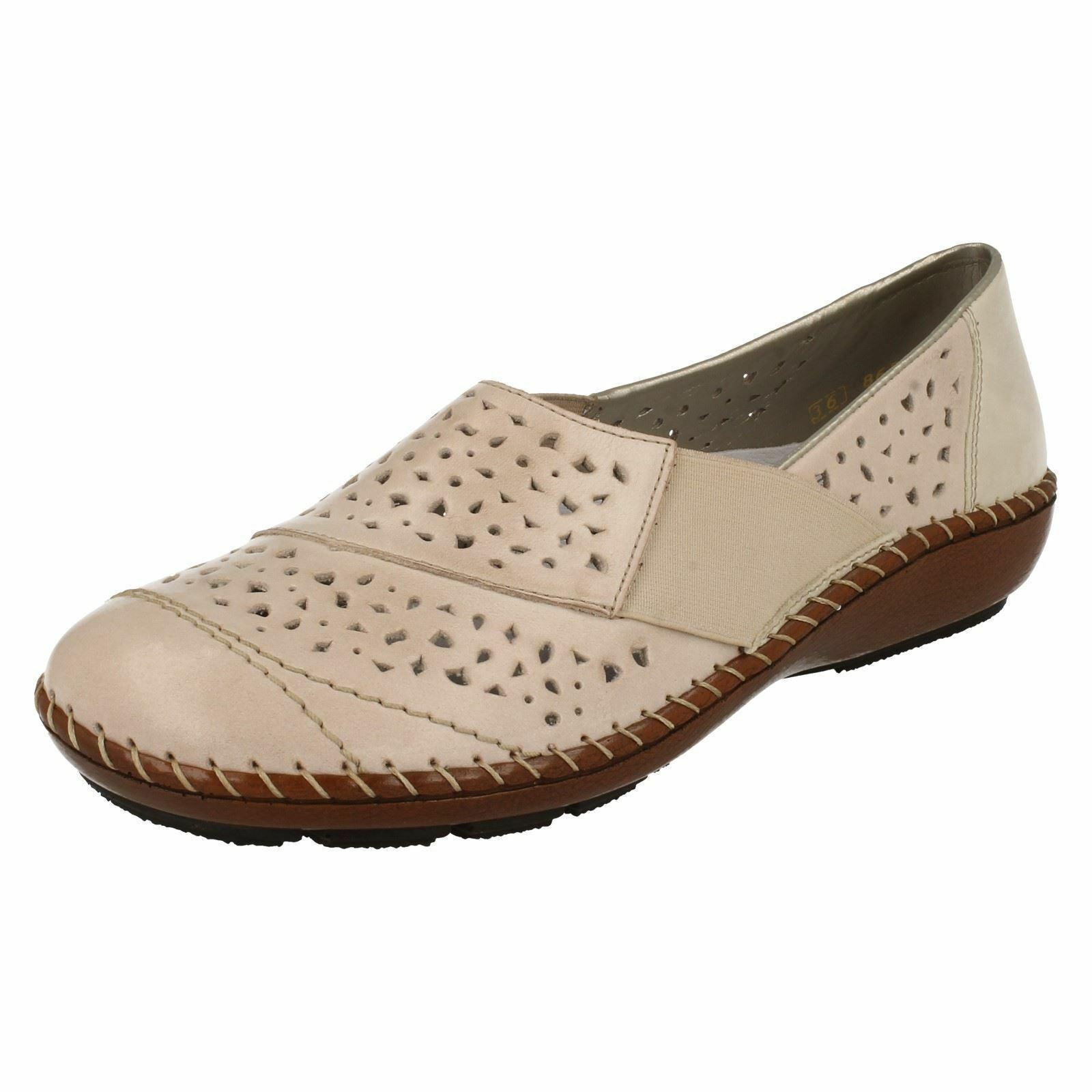 Damen Rieker 44856 Flach Freizeit Leder Slipper Alltag Weich Bequeme Schuhe