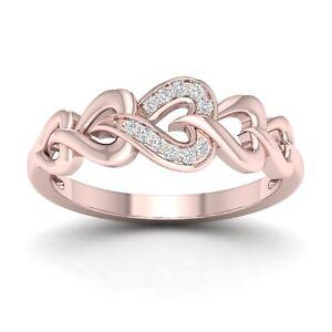 IGI-Certified-10k-Rose-Gold-0-06-Ct-Diamond-Interlocking-Heart-Ring