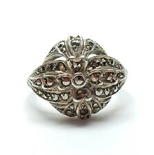 Vintage 925 Sterling Silver Marcasite Art Deco Style Cocktail Cluster Ring 4.5g
