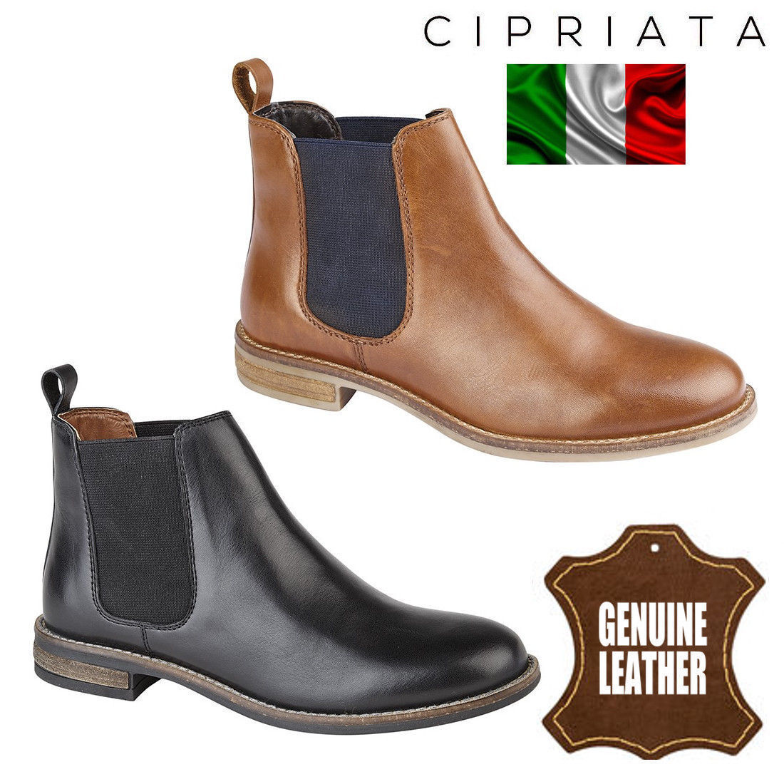 Cipriata  Alexandra  Womens Chelsea Boots Twin Gusset Ladies Leather Ankle shoes
