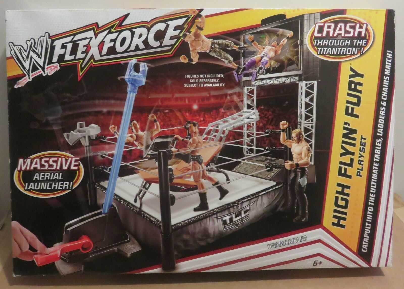 WWE Flex Force High Flyin' Fury Playset with Massive Aerial Launcher - new