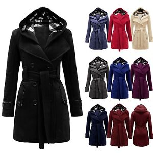 29041d9a991 Image is loading LADIES-MILITARY-BUTTON-HOODED-FLEECE-WOMENS-BELTED-JACKET-