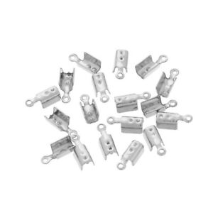 20x Stainless Steel Crimp Coil Fit 2//3//4mm Cord End Caps Spring Clasp Connector