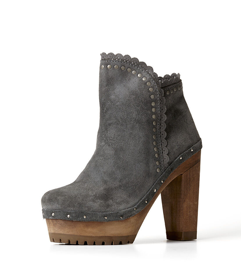 Grau High Heel Short Stiefel with Lace and Studs (XUZ) - ref. EX25466C