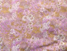 Vintage 1970's Crisp Poly-Cotton Toyobo Dress Making Fabric Pink Mauve Floral