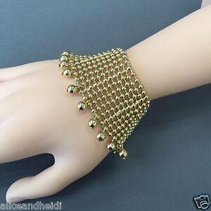 Bohemian Style Gold Finish Beads Layered Charm Designer Inspired Bangle Bracelet