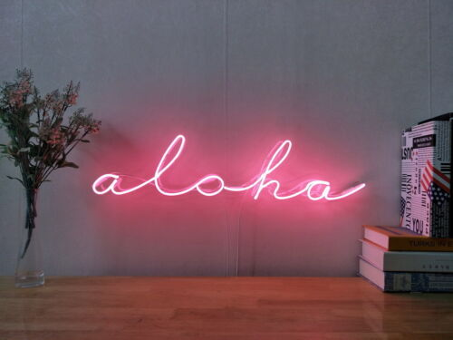 New Hawaii Aloha Neon Sign For Bedroom Wall Home Decor Artwork Light With Dimmer