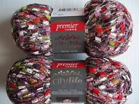 New 3 Skeins Premier City Life Ladder Jewelry Yarn Grenadine Glitz 847652007328 Craft Supplies