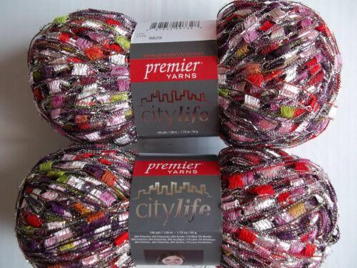 140 yds each lot of 2 Grenadine glitz Premier City Life trellis//ladder yarn