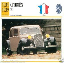 CITROËN 7C 1934 1939 CAR VOITURE FRANCE CARTE CARD FICHE