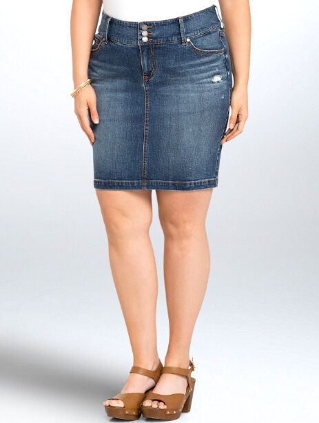 TORRID  NWT Jean Slim Pencil SKIRT Womens PLUS 14 1X Faded Wash Denim RIPPED