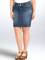 Torrid $48 Jean Slim Pencil Skirt Womens Plus 26 4x Faded Wash Denim Ripped