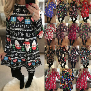 UK-Size-6-22-Womens-Xmas-Christmas-Santa-Long-Sleeves-Ladies-Snowman-Paty-Dress