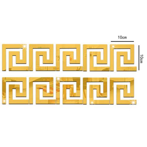 Wall Sticker Geometric Baseboard Mirror Waist Line 3D Acrylic Home Decoration