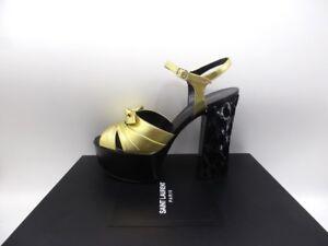 Saint Laurent Black//Gold Jacquard Fabric Farrah 80 Platform Sandal 484791 8173