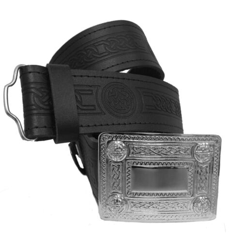 Cinturón de cuero en relieve del remolino Escocés Kilt Nudo Celta Con Hebilla Cromo 4 Demo