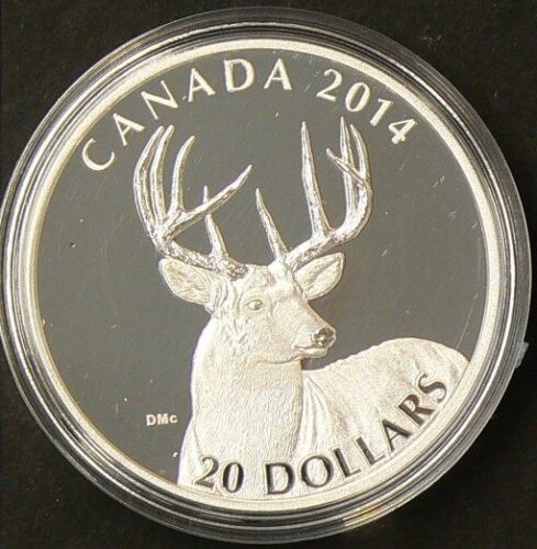 Canada 2014 $20 White Tailed Deer Portrait Fine Silver with CoA No Tax  #G1035