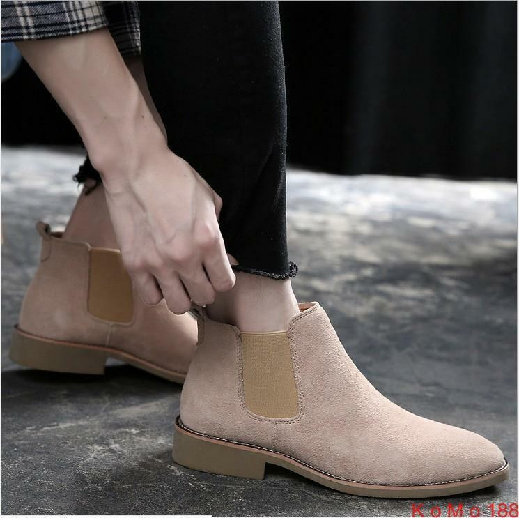 Fashion Mens Pointy toe Ankle Boots Casual Suede Stretch Chelsea  pull on shoes