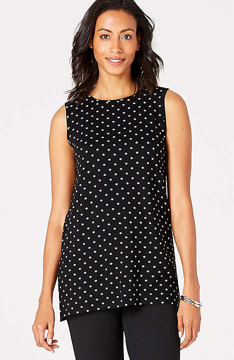 J. Jill - 3X(Plus) - Wearever Stylish schwarz Daisy Dot Long Tank  NWT